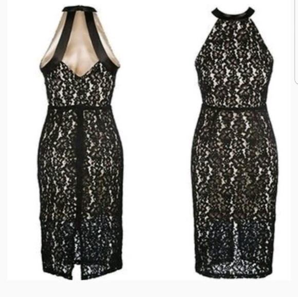 Abs Collection Halter Black Floral Lace Dress